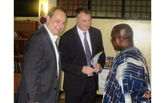 The Ambassador of France to Ghana, the Head of Cooperation and the French Embassy and the DG of NDPC