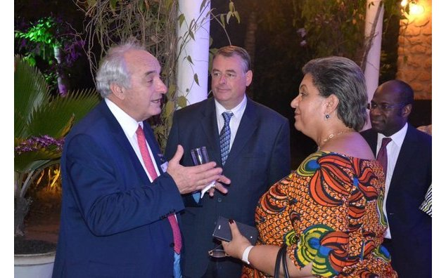 Chairman of the Bordeaux Chamber of Commerce discussing with Hon Hanna Tetteh, Minister of Foreign Affairs and regional Integration