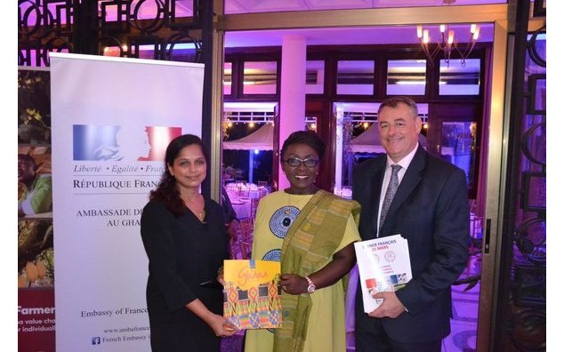 The Ambassador of France, François Pujolas and his spouse, welcoming the Deputy Minister of Tourism, Culture and Creative Arts, Honorable Abla Dzifa Gomashie.