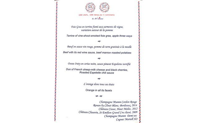Menu at the Residence of France