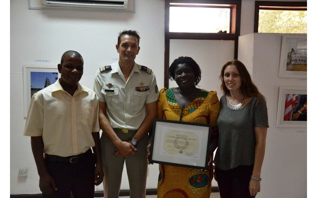 The Burma Camp laureates together with Lieutenant-Colonel Arnaud CREZE and French Language Coordinator Sarah DOYAT.