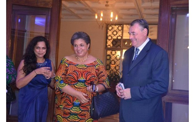 HE Francois Pujolas and his wife welcoming Hon Hanna Tetteh, Minister of Foreign Affairs and Regional Integration