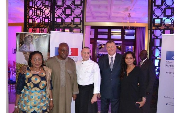The Ambassador of France, François Pujolas and his spouse, welcoming H.E President John Dramani Mahama and Lady Lordina, in the presence of the guest chef Nicolas Nguyen Van Hai.