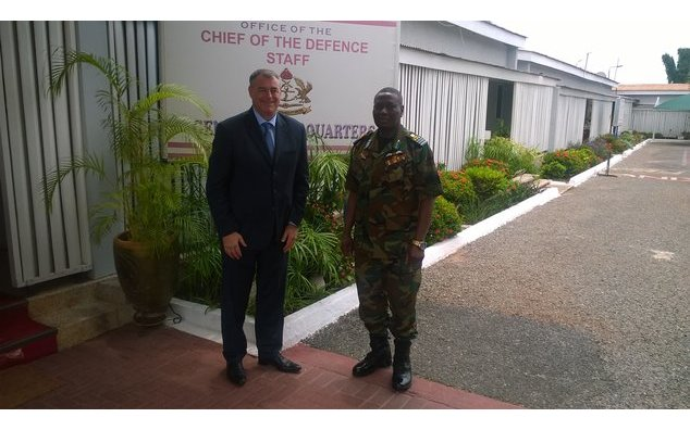 HE François Pujolas with the new Chief of Defence Staff, Air Marshal Michael Samson-Oje