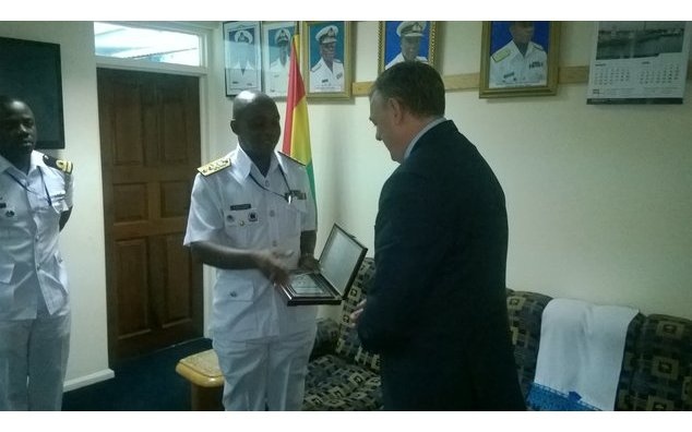HE François Pujolas with the Chief of Navy Staff, Rear Admiral Peter Kofi Faidoo