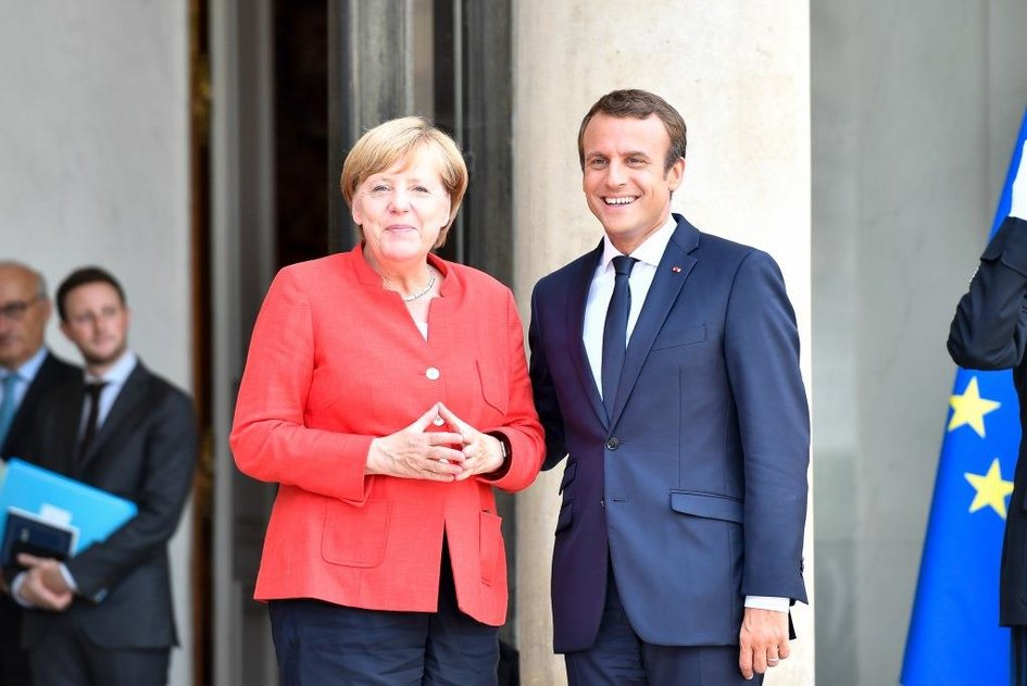 Chancellor of Germany, Angela Merkel and French President Emmanuel Macron - JPEG